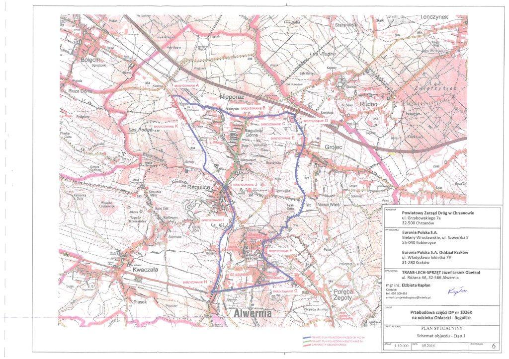Schemat objazdu dla ulic Oblaszki iChrzanowska wRegulicach